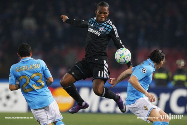 Didier Drogba wearing his donated shoes