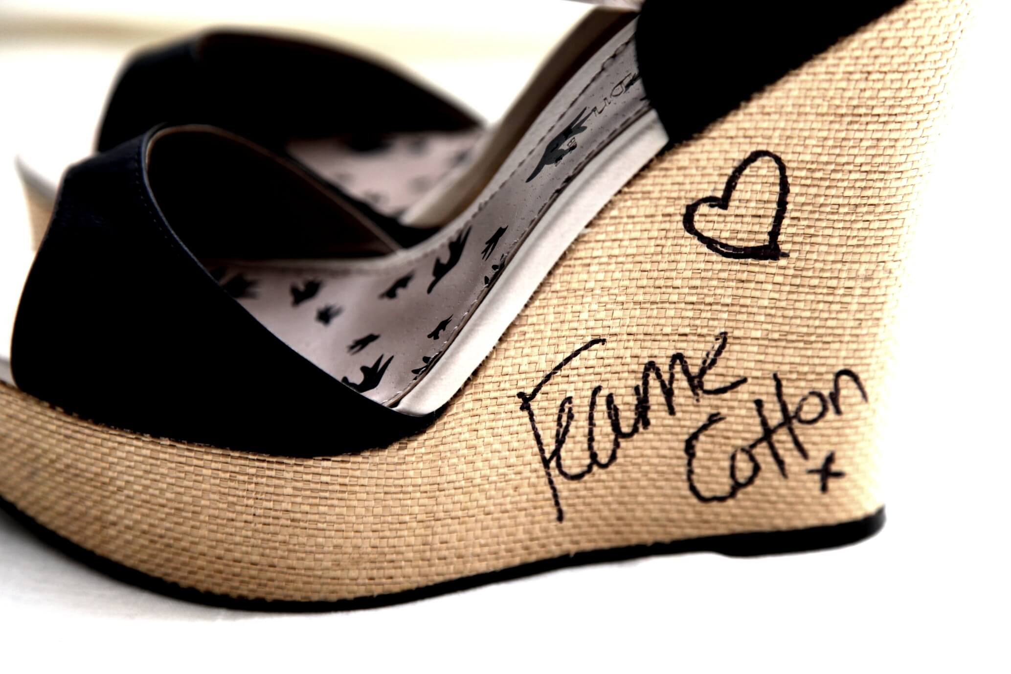 A close up of the shoes Fearne donated in 2012