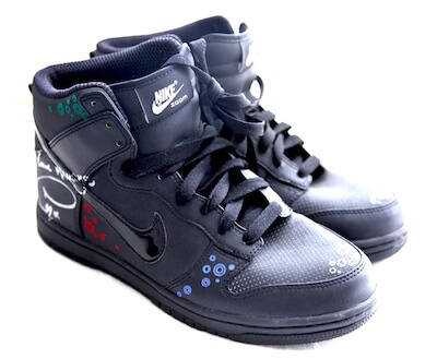 In 2012 Merrygold donated these Nike hightops which he had performed in on the X Factor