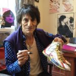 Ronnie Wood with the shoes he donated in 2012