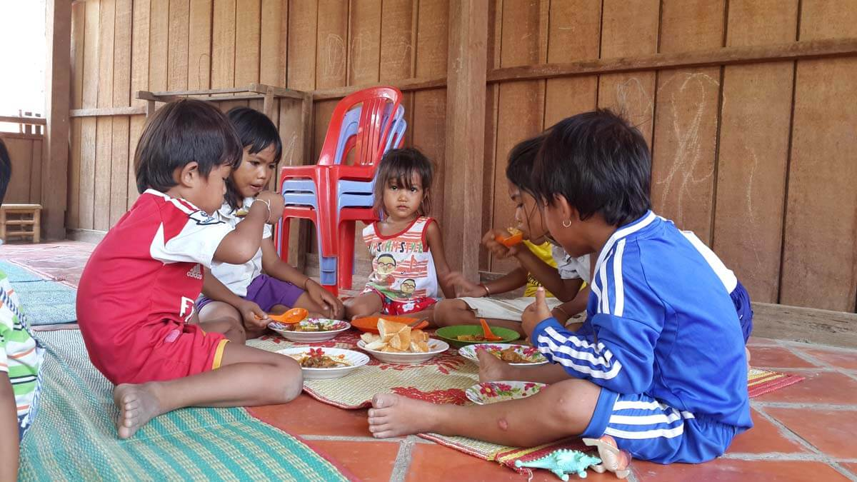 Lunch time! The nursery provides the children with two nutritious meals a day.