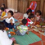 Some of the nursery and outreach children enjoying their lunch.