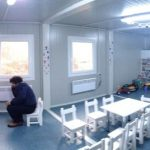 These brilliant classrooms also hold pull down beds (on right of photo) for children who need temporary shelter.