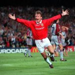 26th MAY 1999. UEFA Champions League Final. Barcelona, Spain. Manchester United 2 v Bayern Munich 1. Manchester United's Teddy Sheringham celebrates after scoring his late equalising goal