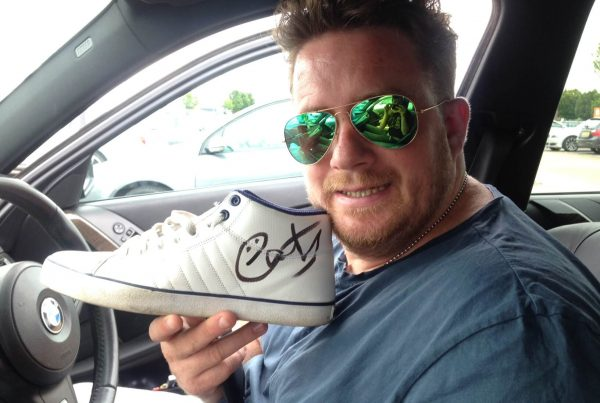 Eats Everything, aka Dan, with the signed donated shoes