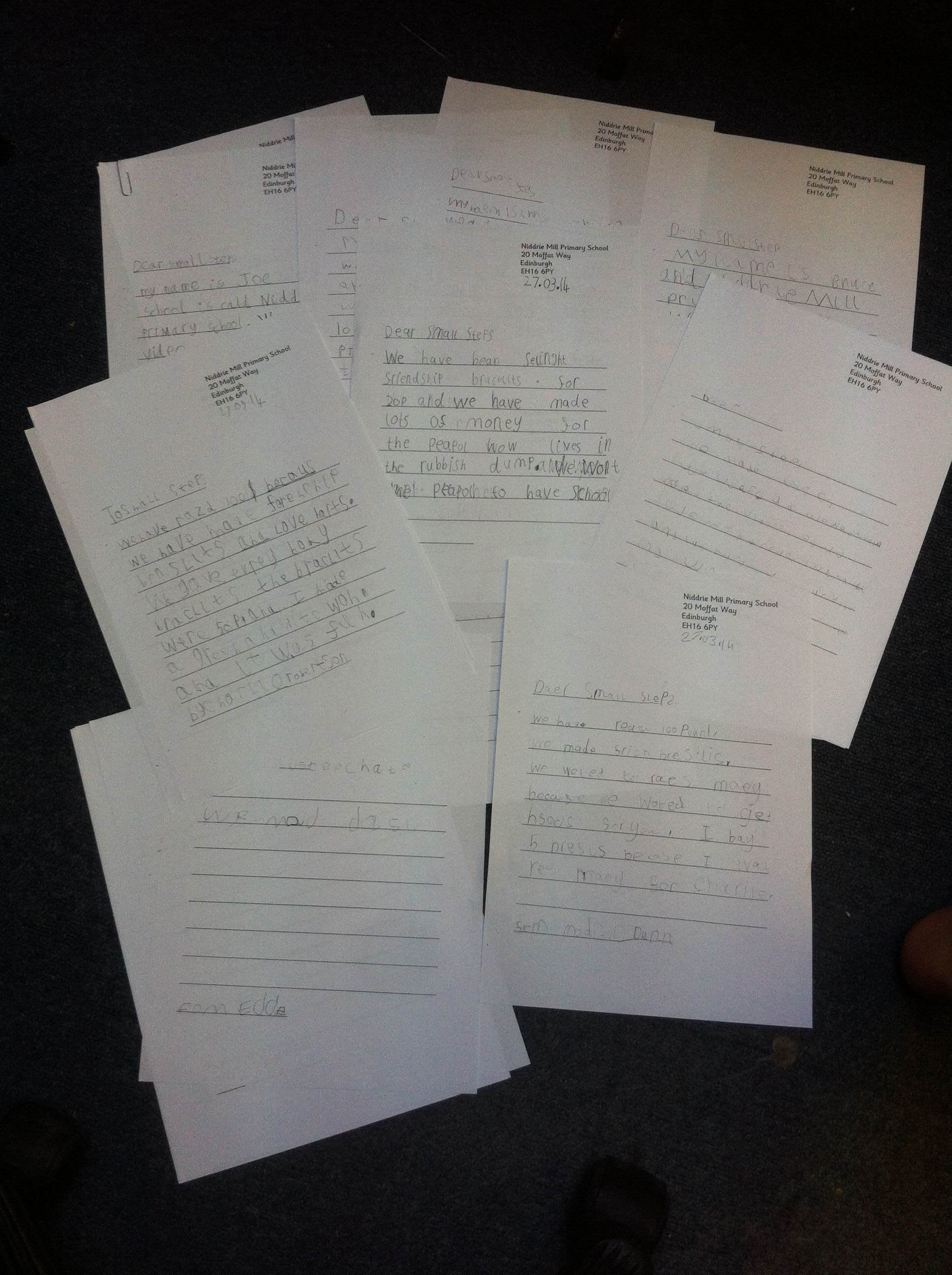 Hand written letters from the children in classes P2a & P2b