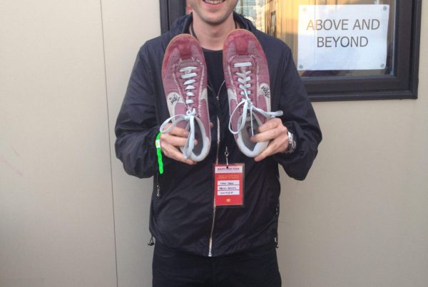 Jono with his donated shoes at SW4