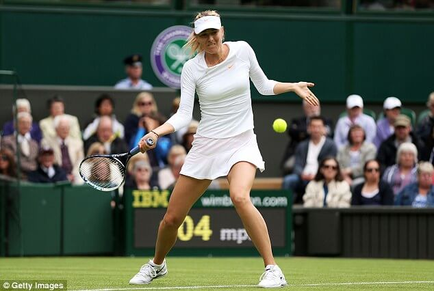 Maria Sharapova wearing her donated shoes at Wimbledon in 2014