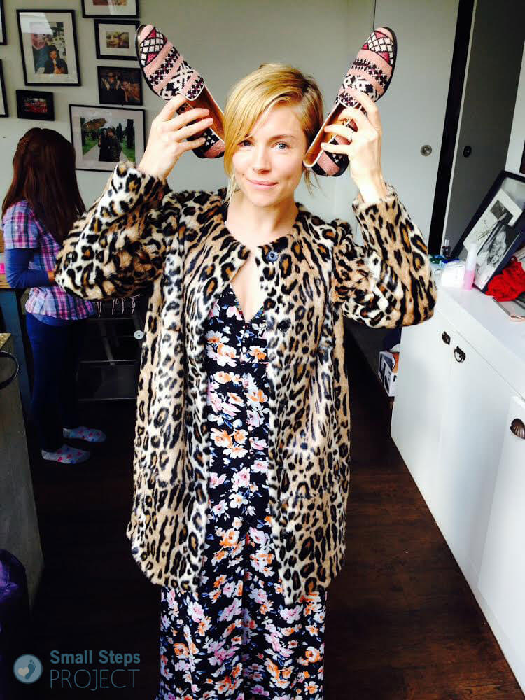 Sienna Miller with her 2014 shoe donation