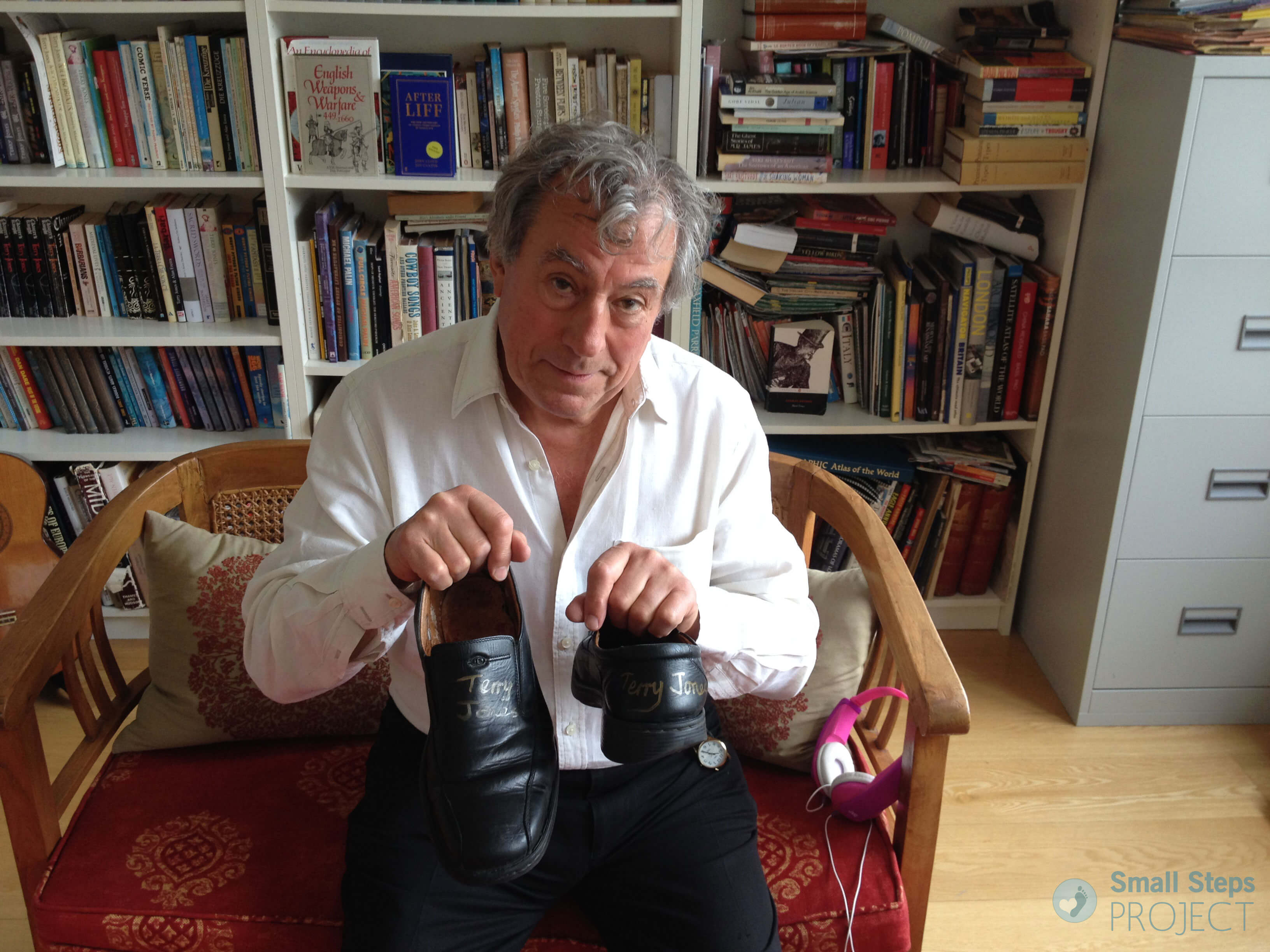 Terry with the shoes he has donated for this year's auction.