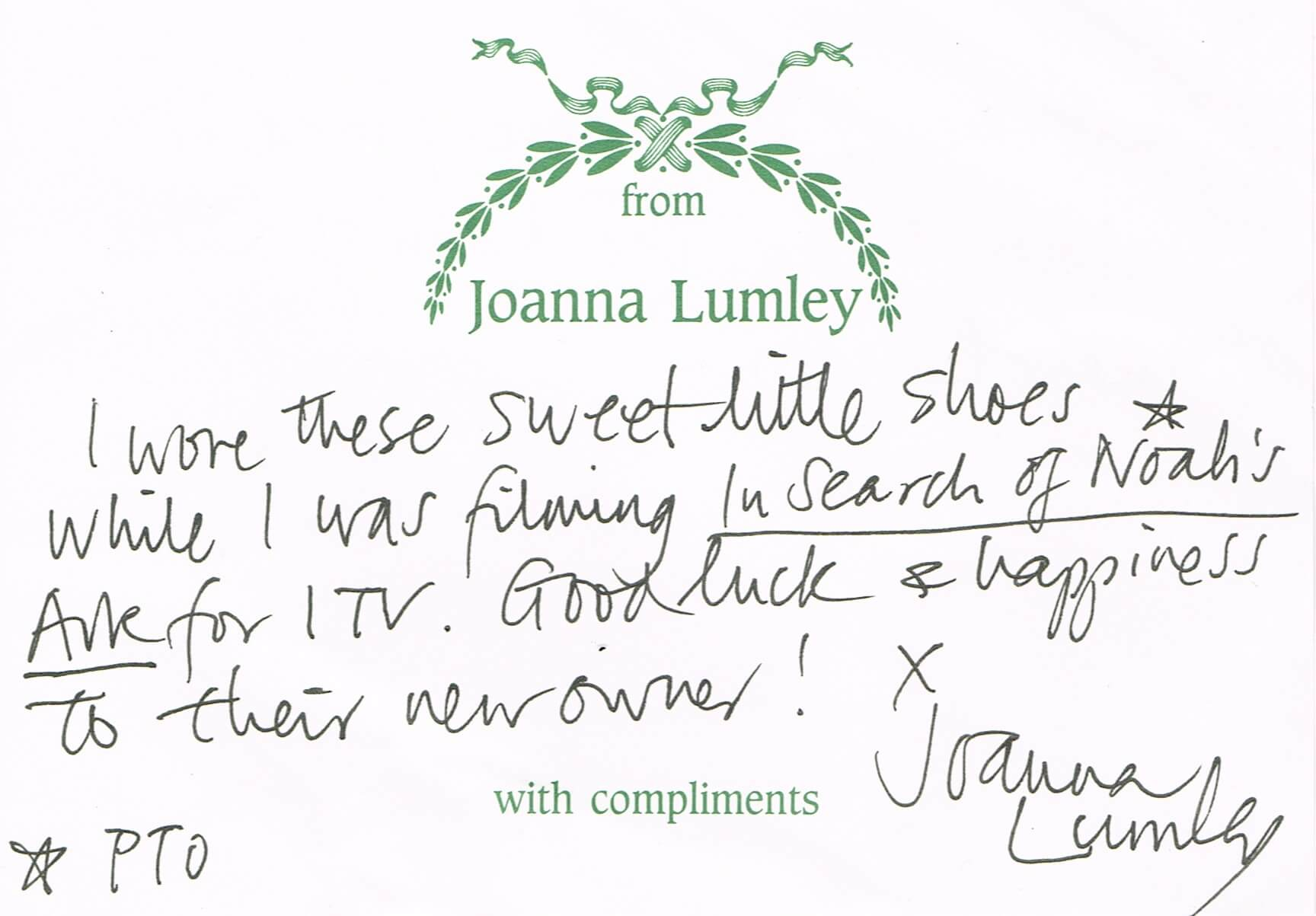 Joanna's hand written note.