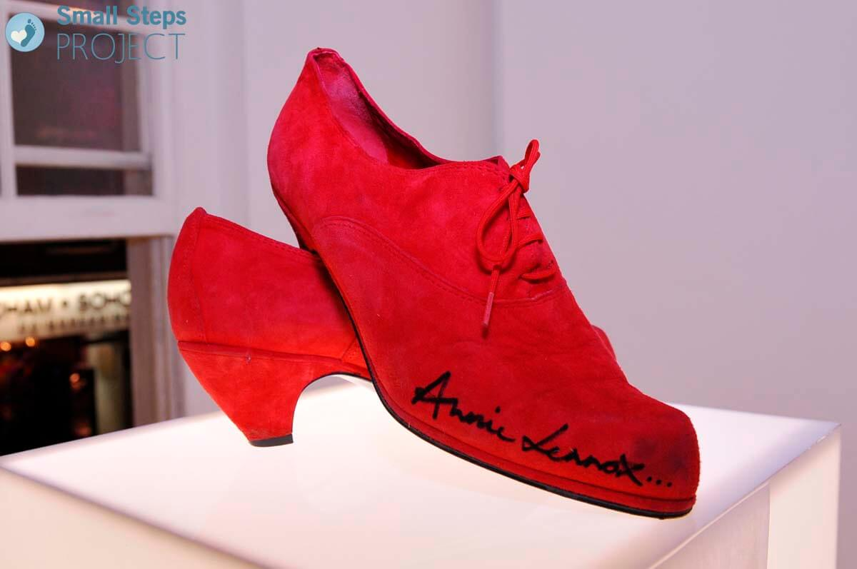 Annie Lennox's shoes on display.