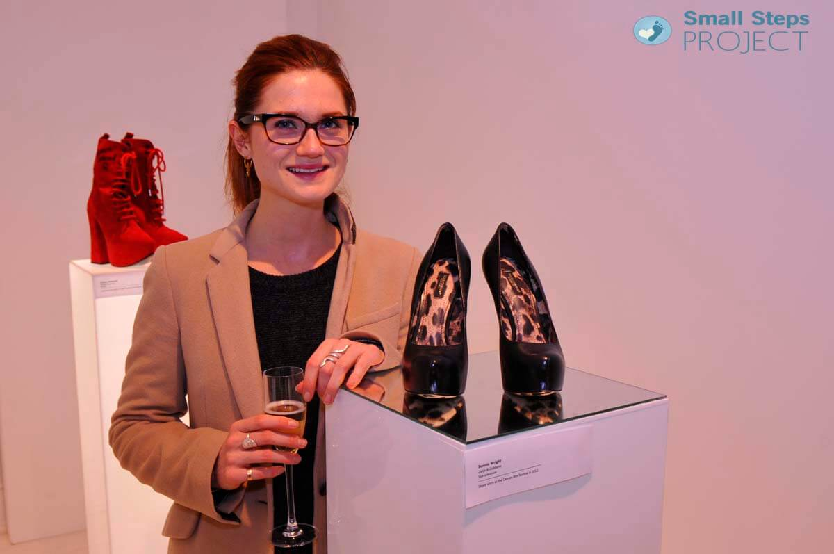 Harry Potter star Bonnie Wright very kindly popped by to view the shoes. Here she is with the Dolce & Gabbana shoes that she kindly donated.
