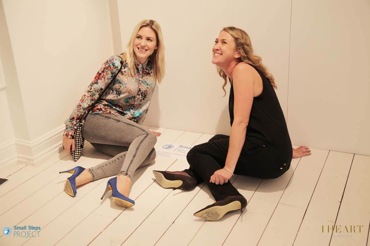 Singer and shoe donor Elsie (left of photo) with Small Steps CEO Amy Hanson.