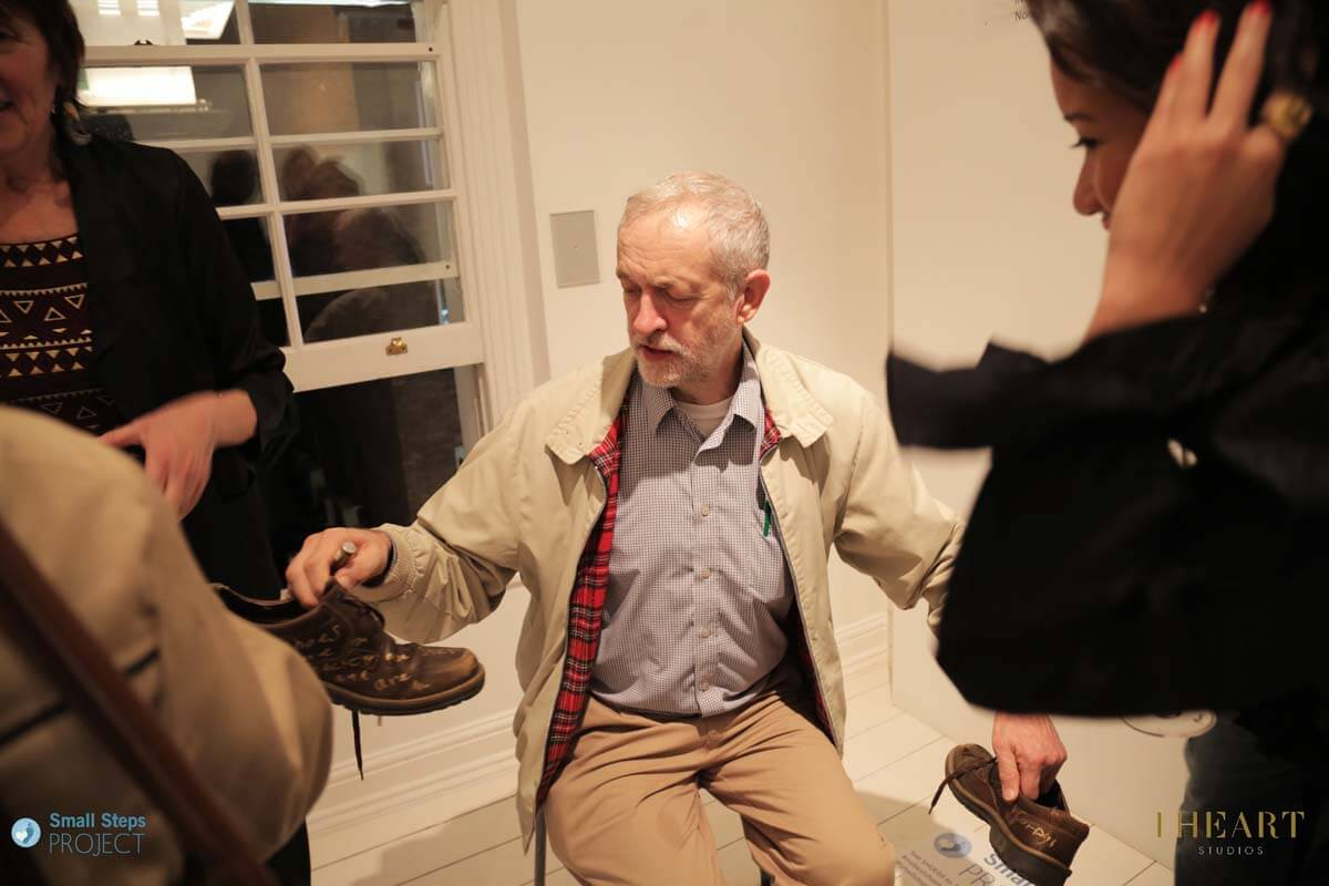 Labour MP Jeremy Corbyn popped by to donate his shoes.