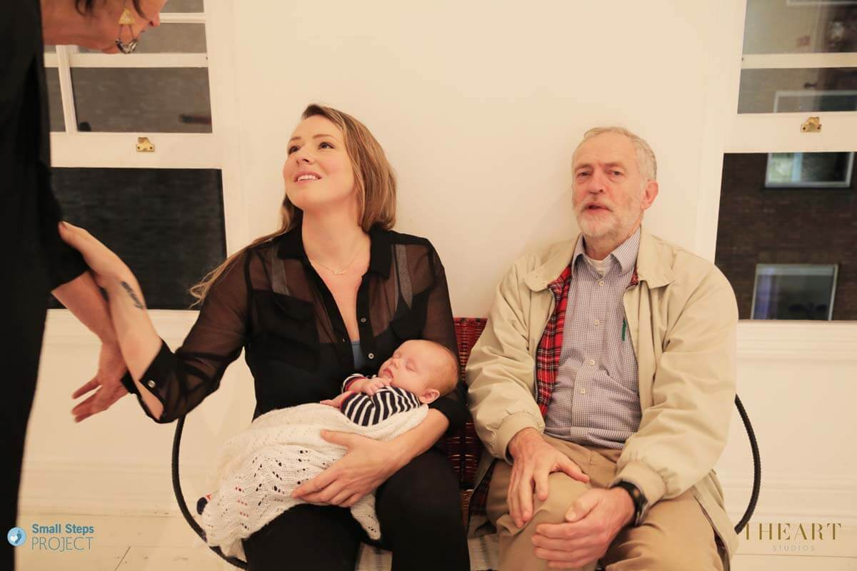 MP Jeremy Corbyn (right) with the CEO of our partner project in Cambodia, Safe Haven Children's Trust, Benedicta Bywater (with her new baby Wolfe)!