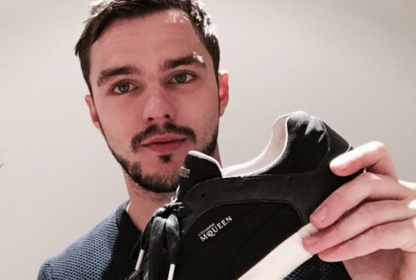 Nicholas Hoult with his shoes