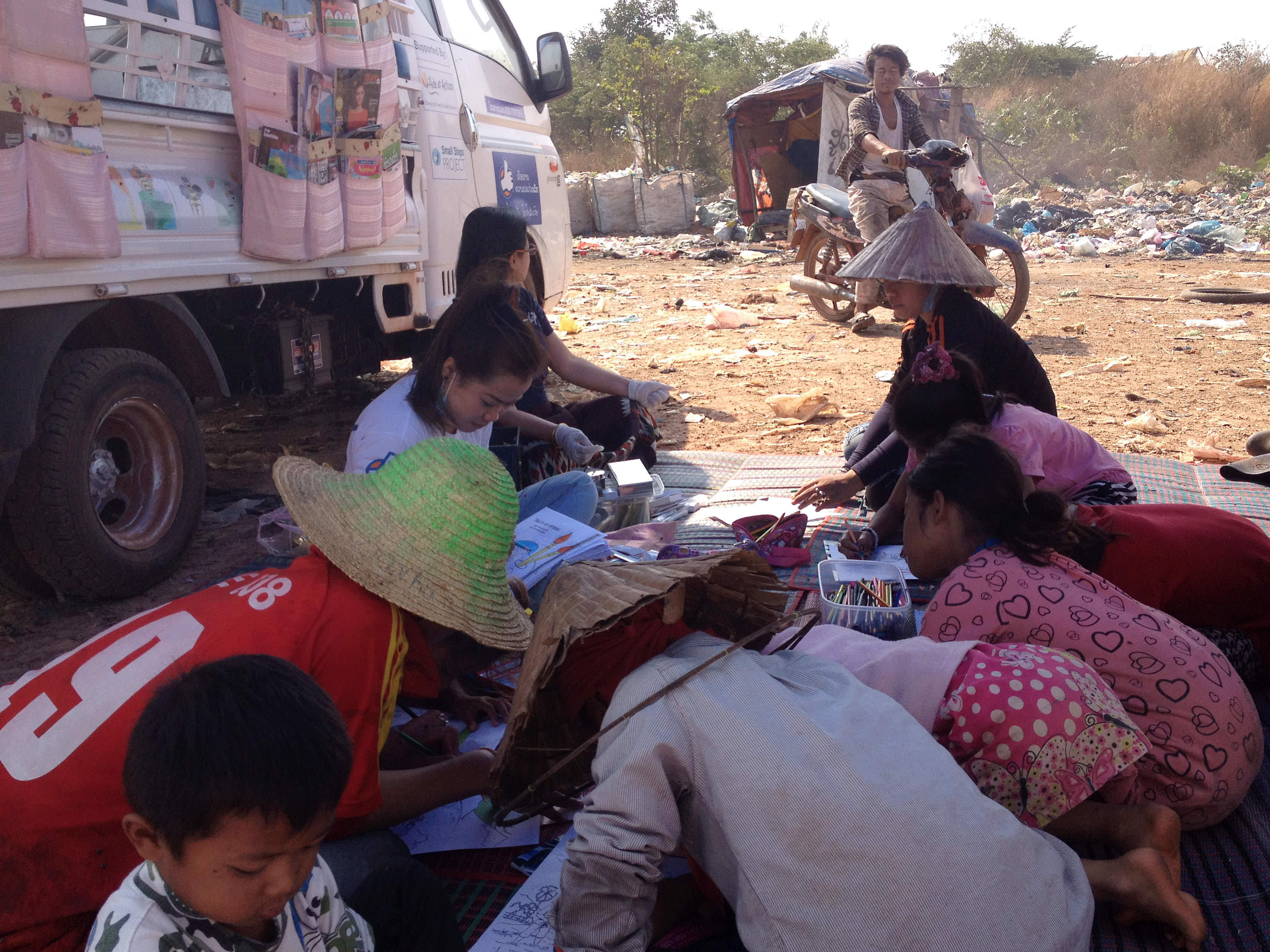 Books, toys and other learning materials are onboard the mobile school.