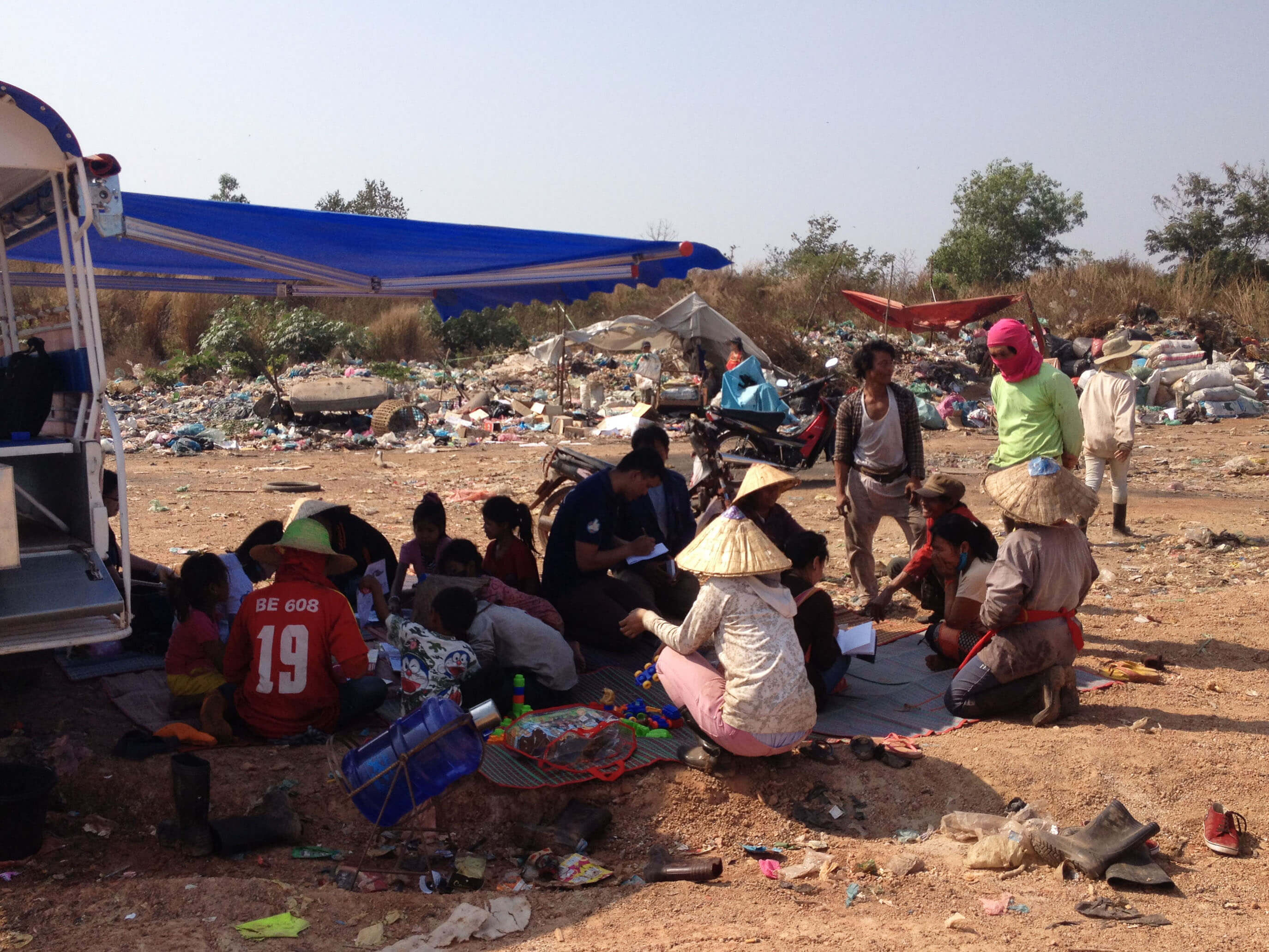 Activities and resources being delivered directly on site at the KM36 dump.