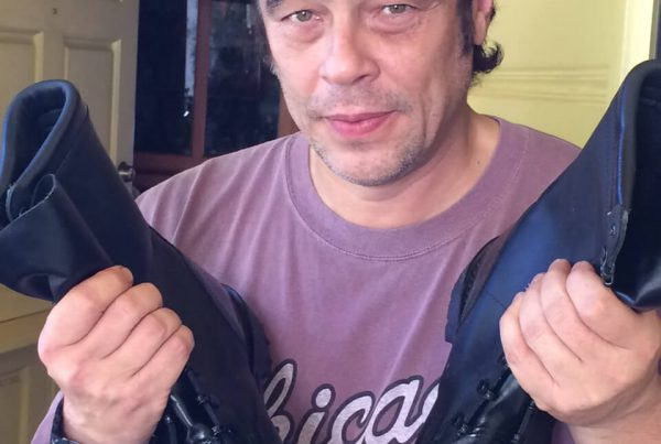 Benicio with his donated shoes 2015